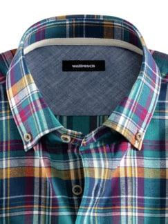 Baumwoll-Seiden-Hemd Fensterkaro Detail 3