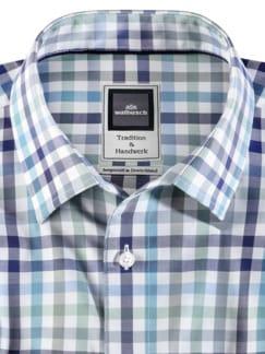 Extraglatt-Hemd Premium Vichy Blau Mint Detail 3