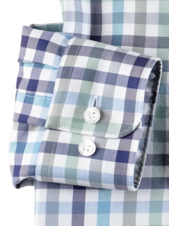 Extraglatt-Hemd Premium Vichy Blau Mint Detail 4
