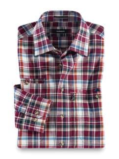 10-Taschen-Safarihemd Karo Beere Detail 1
