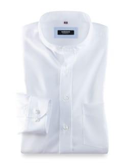 Stehkragen-Hemd Extraglatt Uni Weiss Detail 1