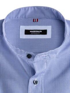 Stehkragen-Hemd Extraglatt Faux Uni Blau Detail 3
