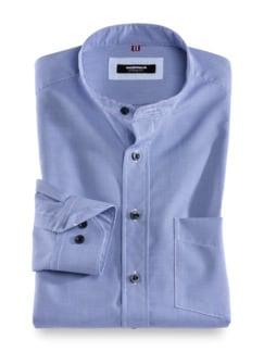 Stehkragen-Hemd Extraglatt Faux Uni Blau Detail 1
