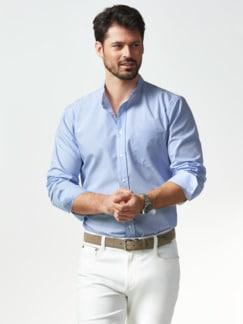 Stehkragen-Hemd Extraglatt Streifen Blau Detail 2