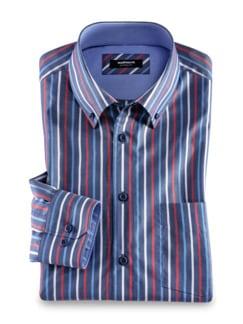 Extraglatt-Hemd Button Down Streifen Azur Rot Detail 1
