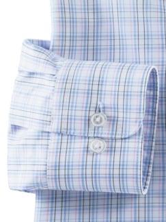 Business-Hemd Naturstretch Karo Weiß/Bleu Detail 4