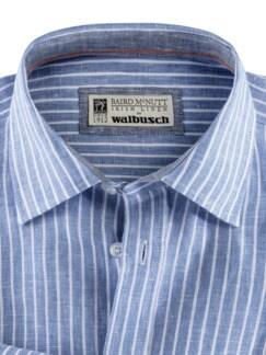 Irisches Leinenhemd Clubstreifen Blau Detail 3