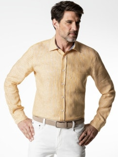 Irisches Leinenhemd Clubstr. Gelb Detail 2