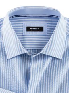 Seersucker-Hemd Hitzefrei Streifen Blau Detail 3