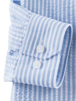 Seersucker-Hemd Hitzefrei Streifen Blau Detail 4