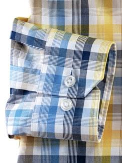 Extraglatt-Hemd Capri Karo Blau/Gelb Detail 4