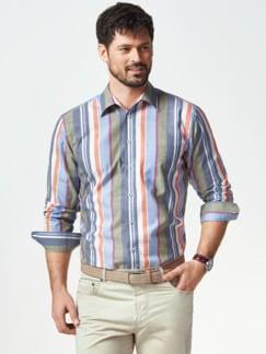 Extraglatt-Hemd Tropical Streifen Blau Detail 2