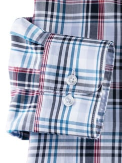 Extraglatt-Hemd Walbusch-Kragen Madraskaro Blau Detail 4