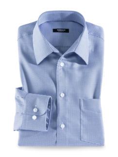 Extraglatt-Hemd Walbusch-Kragen Hahnentr. Blau Detail 1