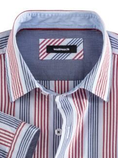 Seersucker-Hemd Indian Summer Blau/Rot gestreift Detail 3