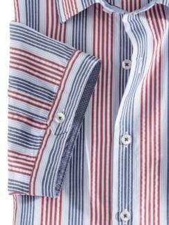 Seersucker-Hemd Indian Summer Blau/Rot gestreift Detail 4