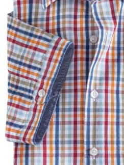 Seersucker-Hemd Indian Summer Karo Orange/Blau Detail 4