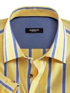 Extraglatt-Hemd Tropical Streifen Gelb Detail 3