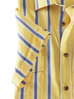 Extraglatt-Hemd Tropical Streifen Gelb Detail 4