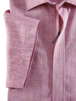 Reißverschluss-Hemd Easycare Uni Rot Detail 4