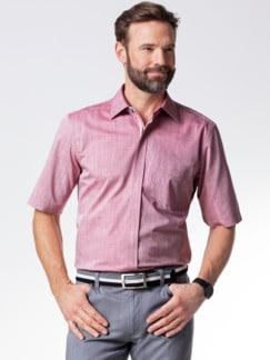 Reißverschluss-Hemd Easycare Uni Rot Detail 2