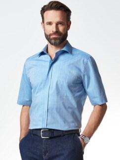 Reißverschluss-Hemd Easycare Uni Blau Detail 2