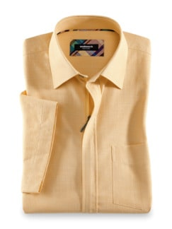 Reißverschluss-Hemd Easycare Uni Gelb Detail 1