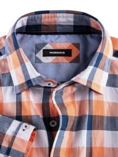 Crashoptik-Hemd Sommerbrise Orange/Blau kar. Detail 3