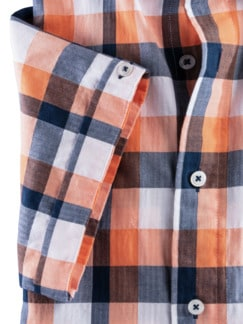 Crashoptik-Hemd Sommerbrise Orange/Blau kar. Detail 4