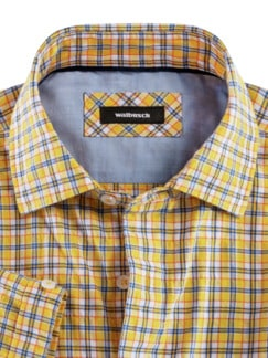 Crashoptik-Hemd Sommerbrise Gelb/Weiß kar. Detail 3