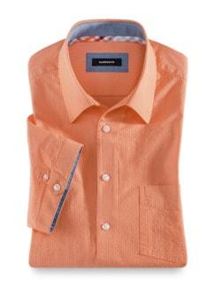 Seersucker-Hemd Frischekick Uni Apricot Detail 1