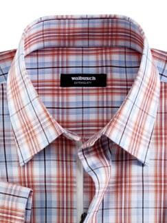 Extraglatt-Hemd Reißverschluss Weiß/Terra/Blau Detail 3