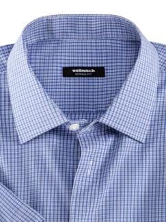 Extraglatt-Hemd Kent-Kragen Karo Blau/Weiß Detail 3