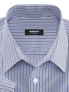 Extraglatt-Hemd Walbusch-Kragen Streifen Blau/Weiß Detail 4
