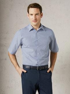 Extraglatt-Hemd Walbusch-Kragen Streifen Blau/Weiß Detail 2