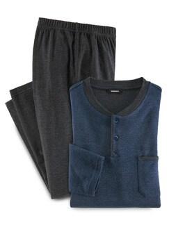 Easycare-Schlafanzug Thermoleicht Blau/Anthrazit Detail 1