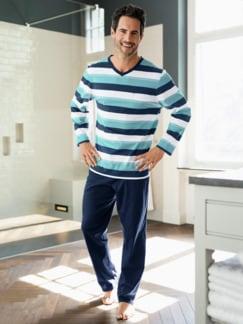 V-Pyjama Ozeano Türkis/Blau Detail 4