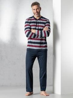 Streifen-Pyjama Nautical Marine/Grau/Rot Detail 2