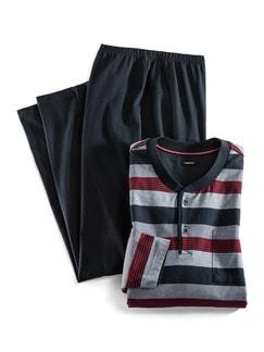 Streifen-Pyjama Nautical Marine/Grau/Rot Detail 1
