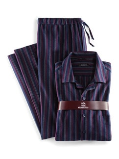 Softflanell Pyjama Streifen Marine/Rot Detail 1