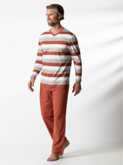V-Pyjama Terra Sand/Ziegelrot Detail 2