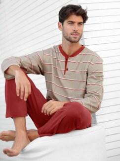 Baumwoll-Schlafanzug Savanne Natur gestreift Detail 4