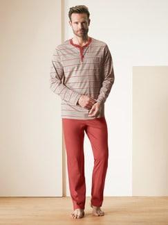 Baumwoll-Schlafanzug Savanne Natur gestreift Detail 2