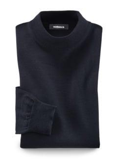 Merino-Mix Stehbund-Pullover Marine Detail 1