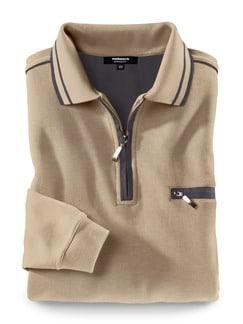 Extraglatt-Polo-Pullover Sand Detail 1