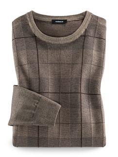 Pullover Gitterkaro Haselnuss Detail 1