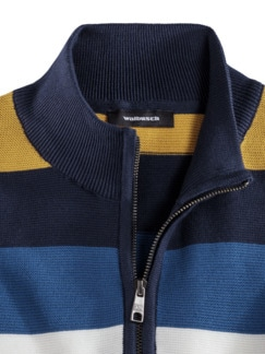 Streifen-Troyer Pima Cotton Kobalt/Gelb Detail 3