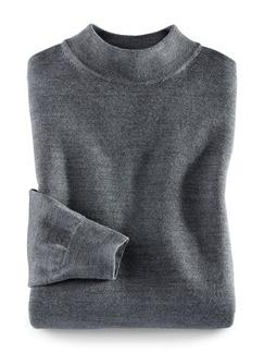 Merino-Mix Stehbund-Pullover Mittelgrau Detail 1