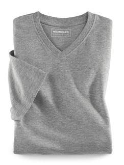 T-Shirt V-Ausschnitt Mittelgrau Detail 1