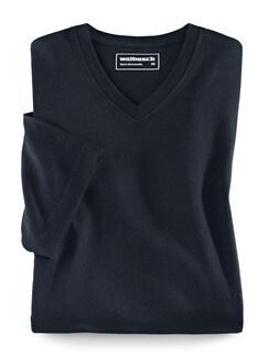 T-Shirt V-Ausschnitt Marine Detail 1